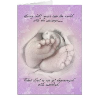 Birth announcement baby feet sketch