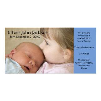 Birth Announcement Boy Blue Photo Card Simple