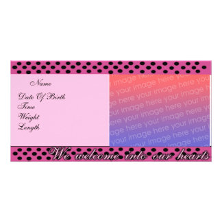 Birth Announcement Pink and Black Polka Dots Phot Custom Photo Card