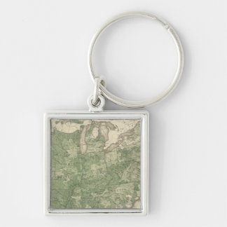 Birth Rate US, Statistical US Lithograph Silver-Colored Square Key Ring