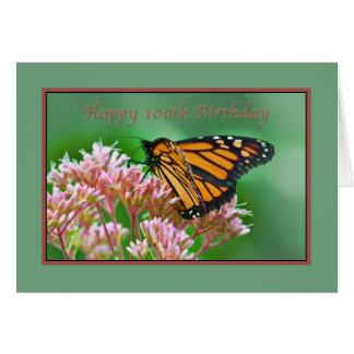 Birthday, 100th, Monarch Butterfly Card