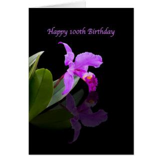 Birthday, 100th, Orchid on Black Card