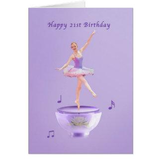 Birthday, 21st, Music Box Ballerina Greeting Card