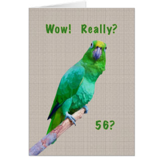 Birthday, 56th, Green Macaw Parrot on a Limb Card