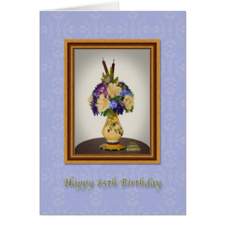 Birthday, 85th, Flowers in Yellow Vase Card