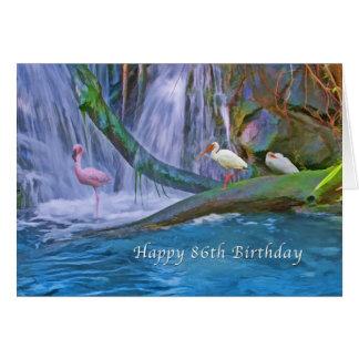 Birthday, 86th, Tropical Waterfall, Wild Birds Card