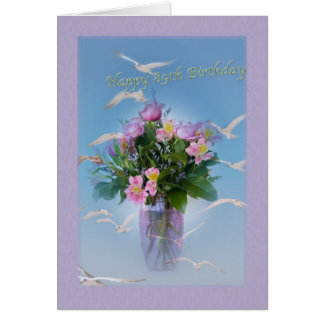 Birthday, 89th, Flowers and Birds Card