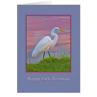 Birthday, 89th, Great Egret Strolling at Sunrise Card