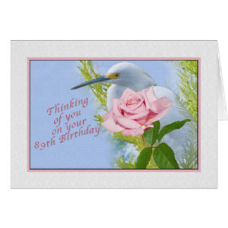 Birthday, 89th, Pink Rose and Snowy Egret Bird Card