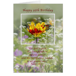 Birthday, 95th, Religious, Butterfly Greeting Card