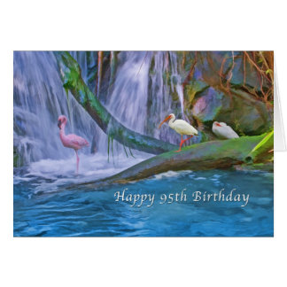 Birthday, 95th, Tropical Waterfall, Birds Greeting Card