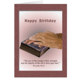 Birthday, Aged Hands, Worn Bible, Religious Card