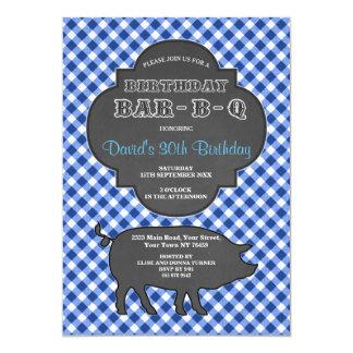 Birthday BARBEQUE Chalk Blue Gingham Invitation