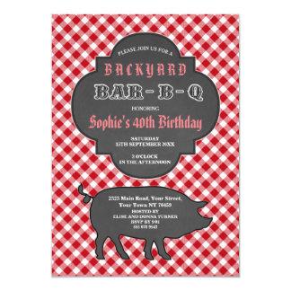 Birthday BARBEQUE Chalk Red Gingham Invitation