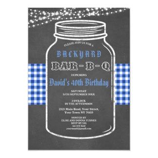 Birthday BARBEQUE Mason Jar Gingham Invitation