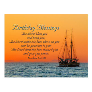 Birthday Blessings Numbers 6 The Lord Bless You Postcard