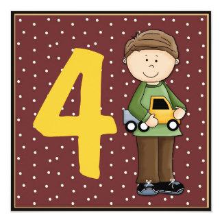 "Birthday Boy Number 4 Invitation 5.25"" Square Invitation Card"