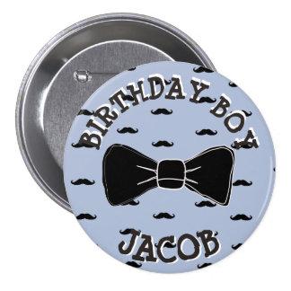 Birthday Boy Persoanlized Mustache Bowtie Button