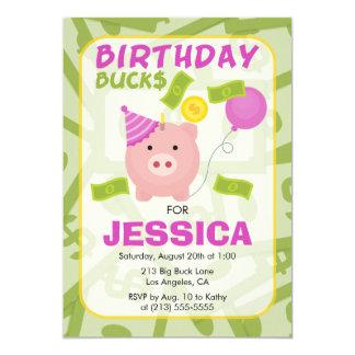 Birthday Bucks Piggy Bank Girl Party Invitation