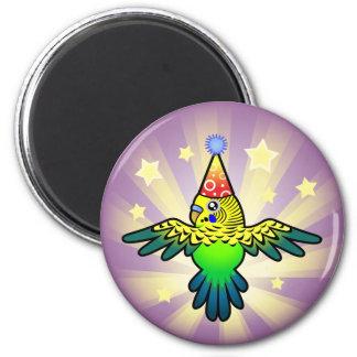 Birthday Budgie 6 Cm Round Magnet