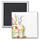 Birthday Cake Button Square Magnet