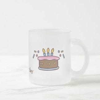 Birthday cake frosted glass mug