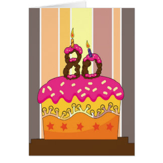 birthday - cake with candles 80 - 80th birthday gr greeting card