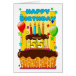 birthday cake with candles - happy 55th birthday greeting cards