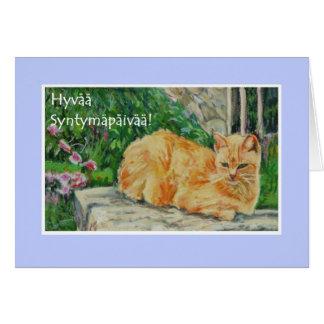 Birthday Card, Finnish Greeting, Ginger Cat Greeting Card