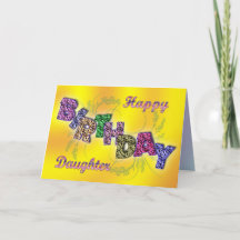 Birthday card for daughter with floral text