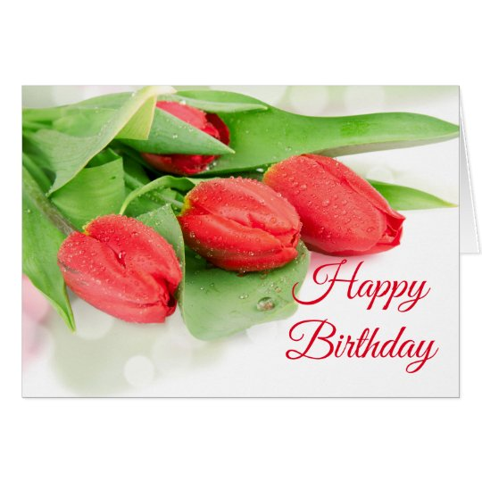 Birthday Card -Red Tulips