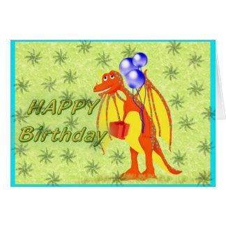 Birthday Cartoon Dragon Greeting Card