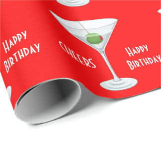 Birthday Cheers Martini Glass Olive Cocktails Red Wrapping Paper