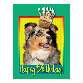 Birthday Cupcake - Australian Shepherd - Dustine Postcard