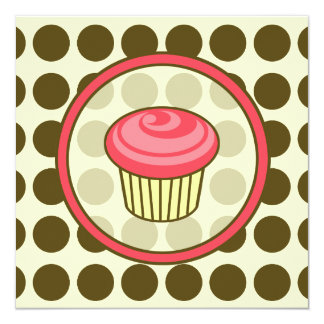 Birthday Cupcake Invitation - Pink with Brown Dots
