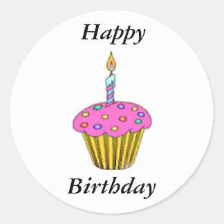Birthday Cupcake Round Sticker