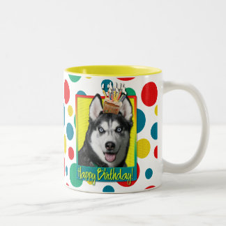 Birthday Cupcake - Siberian Husky Two-Tone Coffee Mug