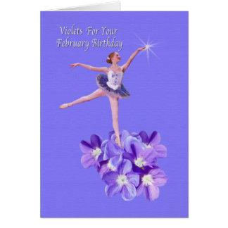 Birthday,  February, Ballerina and Violets Card