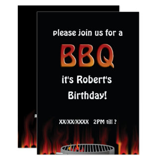 Birthday Flaming Hot BBQ Party Invitation