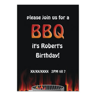 "Birthday Flaming Hot BBQ Party Invitation 5"" X 7"" Invitation Card"
