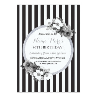 Birthday Floral Black White Silver Stripe Invite