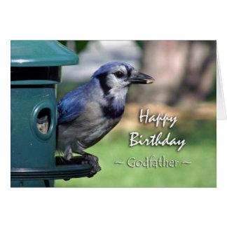 Birthday for Godfather, Blue Jay at Bird Feeder Card