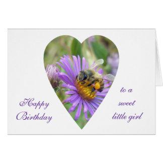Birthday Girl Honeybee on Fall Asters Heart Card