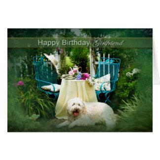 BIRTHDAY - GIRLFRIEND -  ENGLISH COTTAGE GARDEN GREETING CARD