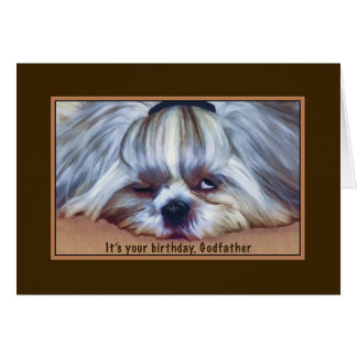 Birthday, Godfather, Sleepy Shih Tzu Dog Card