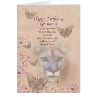 Birthday, Grandson, Cougar and Butterflies Card