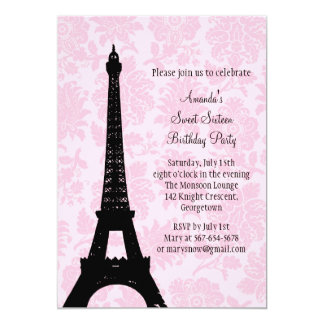 Birthday in Paris Sweet Sixteen 13 Cm X 18 Cm Invitation Card