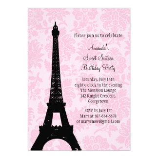 Birthday in Paris Sweet Sixteen Announcements