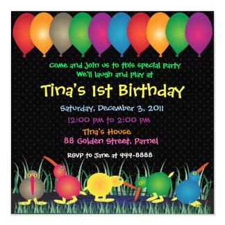 Birthday Invitation: 010 Kiwi 13 Cm X 13 Cm Square Invitation Card