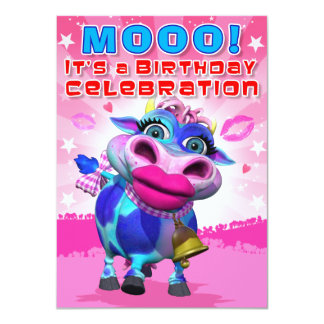 Birthday Invite- Kiss Moo (The GiggleBellies) 11 Cm X 16 Cm Invitation Card